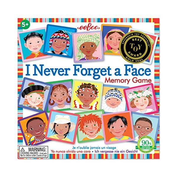 eeBoo I Never Forget a Face Memory Matching Game for Kids