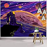 Hexagram Space Tapestry, Cool Astronaut Tapestry Wall Hanging, Trippy Spaceman Wall Tapestry for Bedroom Living Room College Dorm Room Decorations
