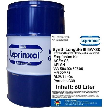 Leprinxol 60 Liter Garagenfass Synth Longlife Iii 5w30 MotorÖl V W Norm 504 00 507 00 Acea C3 Api Sn Mb 229 51 B M W Ll 04 P O R S C H E C30 5w 30 Küche Haushalt