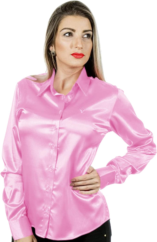 SHIRTMAKER Women Satin Long Sleeve Shirt Button Down Solid Collar Blouse TOP