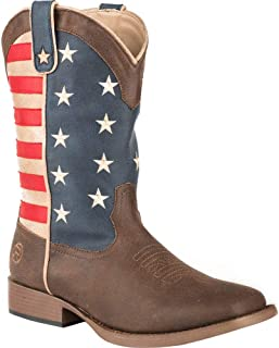 Women's American Patriot Stars and Stripes Cowgirl Boot Square Toe Brown 7.5 M