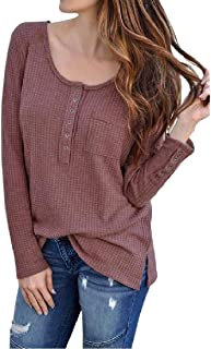 Coolred Women Solid Color Cozy Classic Crew Neck Regular Blouse T-Shirt