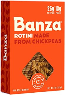 Banza Chickpea Pasta – High Protein Gluten Free Healthy Pasta – Rotini (Pack of 6)