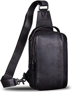 Genuine Leather Sling Bag for Men Crossbody Casual Hiking Daypack Vintage Handmade Chest Shoulder Backpack