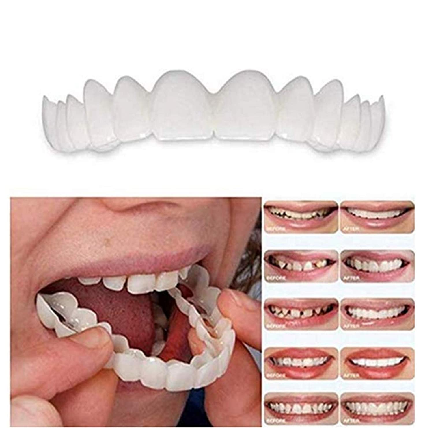 歌信仰首相2PCS /セット(上下の歯の義歯)上下の一時的な反本物の義歯インスタントスマイルコンフォートフィットフレックス化粧品歯義歯歯トップ化粧品突き板