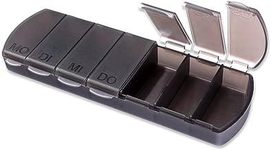 Schramm® Tablettenbox schwarz 11x4 x1,5cm Pillen Tabletten Box 7 Tage Schachtel Tablettendose Pillendose Pillenbox Tablettenboxen Pillendosen Pillen Dose