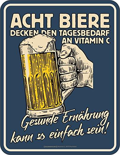 RAHMENLOS Original Blechschild für den Bier-Trinker: Gesunde Ernährung kann so einfach Sein