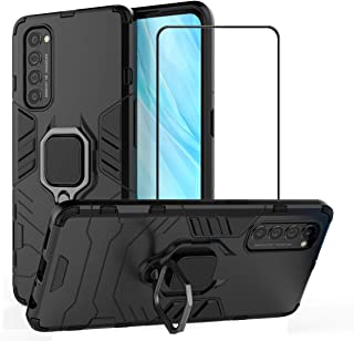 2ndSpring Case for OPPO Reno 4 Pro 5G with Tempered Glass Screen Protector,Hybrid Heavy Duty Protection Shockproof Defende...