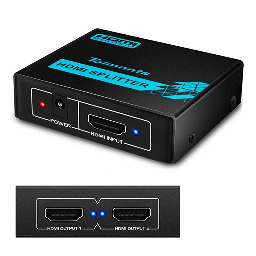 HDMI Splitter 1 in 2 Out, Tolmnnts HDMI Splitter Powered by AC Adapter, Supports 3D Full HD1080P, Compatible with Xbox PS3 PS4 Fire Stick Roku Blu-Ray Player HDTV - 1 Input to 2 Outputs uqyquxp379750
