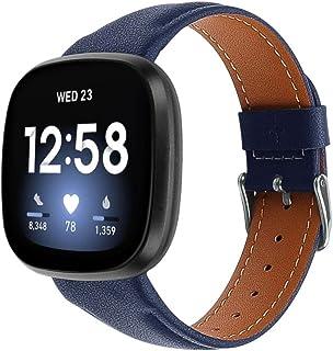 Jennyfly Bracelet réglable pour Fitbit Versa 3/Fitbit Sense, en cuir véritable souple avec boucle en métal compatible avec...