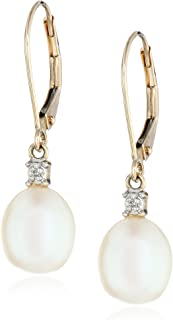 10k Yellow Gold Diamond Accent Freshwater Cultured Pearl Drop Earrings (10.5-11 mm)