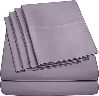 Queen Sheets Plum - 6 Piece 1500 Thread Count Fine Brushed Microfiber Deep Pocket Queen Sheet Set Bedding - 2 Extra Pillow Cases, Great Value, Queen, Plum