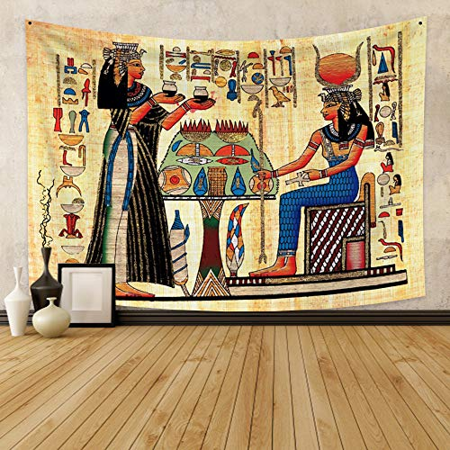Qinunipoto Egyptian Tapestry Ancient Egypt Mythology Tapestry Wall Hanging Egyptian Gods Pharaohs Hieroglyphic Carvings Papyrus Wall Psychedelic Decor for Living Room Bedroom Dorm Home Decor 59x39inch