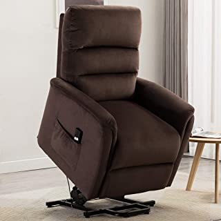 Bonzy Home Power Lift Recliner Chair, 3 Position & Side Pocket, Soft Fabric Sofa with Remote, Lift Chair for Elderly, Recliner Chair for Home Theater Seating, Living Room & Bed Room (Dark Brown)