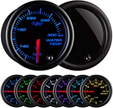 GlowShift Tinted 7 Color 300 F Water Coolant Temperature Gauge Kit - Includes Electronic Sensor - Black Dial - Smoked Lens...