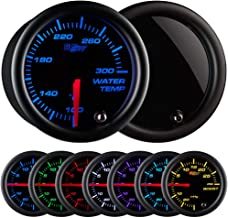 GlowShift Tinted 7 Color 300 F Water Coolant Temperature Gauge Kit - Includes Electronic Sensor - Black Dial - Smoked Lens - For Car & Truck - 2-1/16