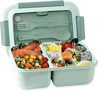 Iteryn Bento Box for Adults/Kids, 3 Compartments Leakproof Bento Box Adult Lunch Box Reusable with Spoon and Fork, Food-Sa...
