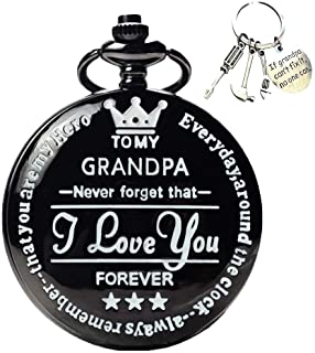 to My-Grandpa Pocket-Watch for Grandpa Best Gifts for Him Birthday Christmas Gifts, Engraved Pocket Watch with Box for Men