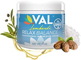 VAL Lombardi Magnesium Cream for Arthritis, Backaches, Cramps, Sore Muscles, Sciatica, Joint and Chronic Pain Relief, Inflammation, Muscle Massage (Natural) with Moisturizing Organic Shea Butter