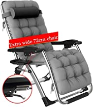 High-quality recliner Sun Lounger Garden Recliner, Outdoors Folding Sun Lounger with Cushions Zero Gravity Patio Recliner Chair Support 440lbs (Color : Gray)