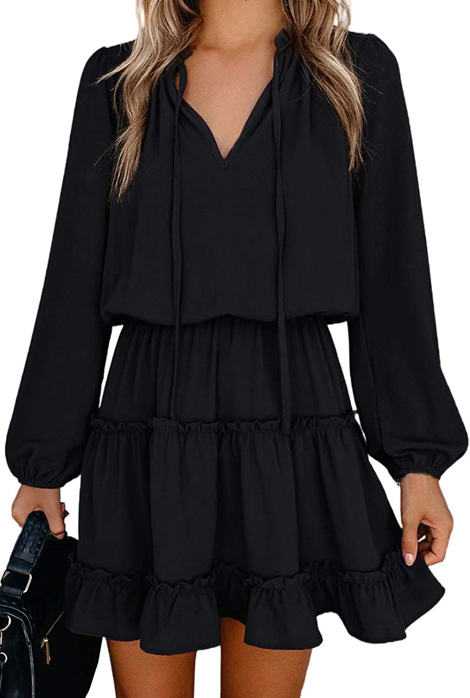 TEWWEY Women's Summer Mini Dress Beach Casual V Neck Elegant Flowy Chiffon Short Dress