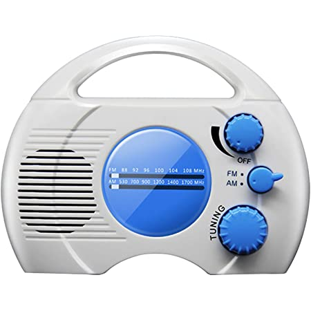 CALIDAKA Shower Radio Mini Portable AM FM Shower Radio with Top Handle Hanging Waterproof Shower Clock Radio Built in Speaker Perfect for Pool, Shower,Boat,Beach,Hot Tub,Outdoors,Indoors