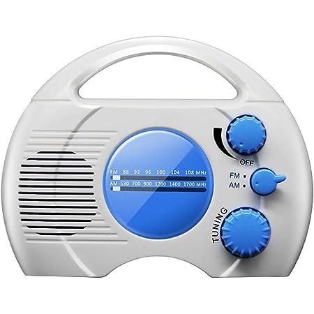 CALIDAKA Shower Radio Mini Portable AM FM Shower Radio with Top Handle Hanging Waterproof Shower Clock Radio Built in Speaker Perfect for Pool, Shower,Boat,Beach,Hot Tub,Outdoors,Indoors