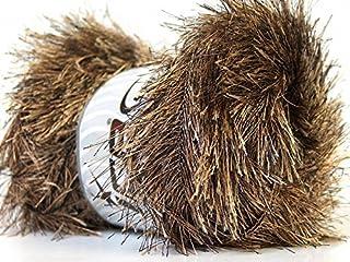Large 100 gram Skein Camel & Brown Eyelash Yarn Fun Fur 164 Yards
