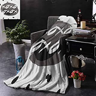 ZSUO Queen Size Blanket Circular Formless Shaped Hugs and Kisses Message with Ink Drops Design Print Throw Lightweight Cozy Plush Microfiber Solid Blanket 60