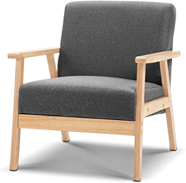 Skane Armchair Lounge Dining Chair Wooden Timber Kitchen Cafe Fabric Seat Grey