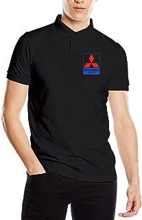 Kaivis New Custom Mitsubishi Vehicle Logo Fashion Funny Printed PyrographPolo Short Sleeve for Man Black