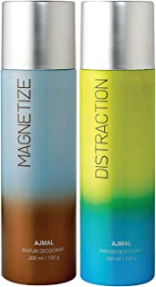 Ajmal Magnetize & Distraction Deodorant Combo pack of 2 Deodorants 200 ml each (Total 400ML) for Men & Women + 2 Parfum Te...