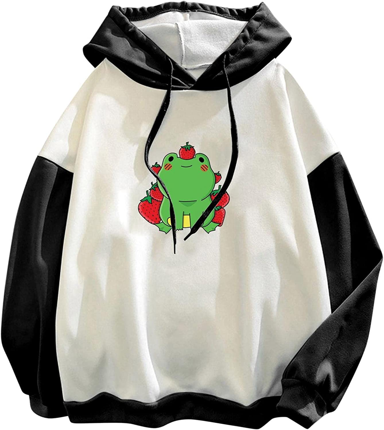 lucyouth Hoodies for Women Teens Girls Long Sleeve Casual Frog Plus Size New Cute Active Stitching Drawstring Sweatshirt