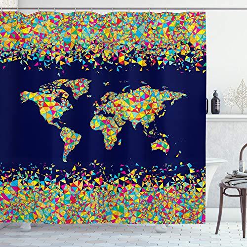 ABAKUHAUS Duschvorhang, Weltkarte Grob Organisiert aus Mosaik Fliesen Global Vielfaltige Farben Festlicher Druck, Wasser & Blickdicht aus Stoff mit 12 Ringen Bakterie Resistent, 175 X 200 cm