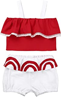 Dinlong Two Pieces Kids Girls Bikini Beach Watermelon Straps Swimsuit+Shorts Swimwear Set