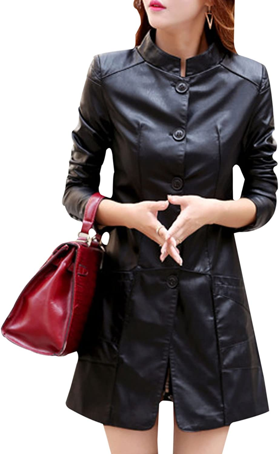 Yeokou Women's Button Faux Leather PU Slim MidLong Trench Coat Jacket Outerwear