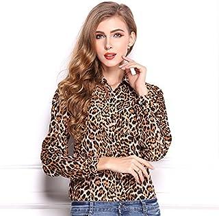 Spring Autumn Women Long Sleeve Loose Chiffon Leopard Shirt