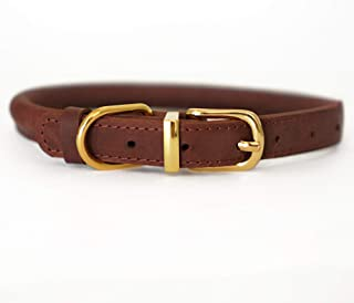 BRONZEDOG Rolled Leather Dog Collar Soft Padded Round Rope Pet Collars for Dogs Puppy Cat Kitten Small Medium Large