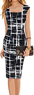 Women Square Neck Striped Formal Cocktail Club Bodycon Fitted Midi Knee Dress