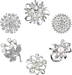 8b3c38e65 Xixihaha 6Pcs Rhinestone Crystal Flower Brooch Pins Set for Woman Girls Wedding  Bridal and Christmas Decorations