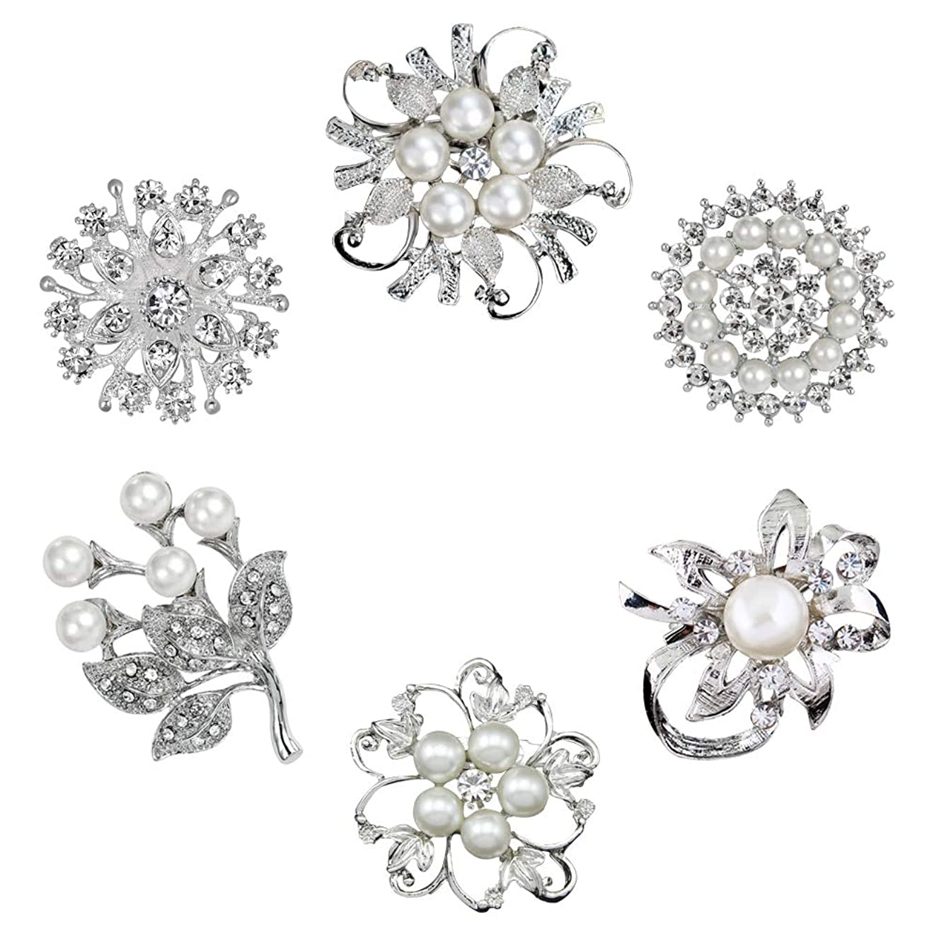 Xixihaha Rhinestone Crystal Flower Brooches Pins for DIY Weeding Bridal Bouquet Brooches Pack of 6