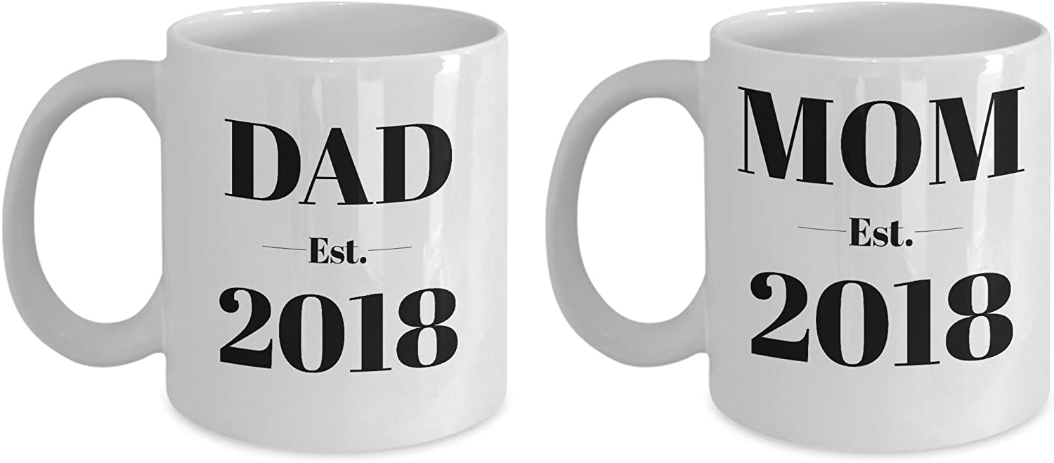 Mom and Dad Established Mug Set  Est 2018  Pregnancy Announcement Gift Coffee Mugs