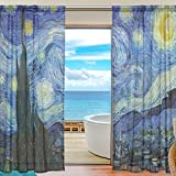 SEULIFE Window Sheer Curtain Van Gogh Starry Night Art Voile Curtain Drapes for Door Kitchen Living Room Bedroom 55x78 inches 2 Panel