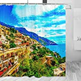 Italia Amalfi cortina de ducha viaje baño decoración conjunto con ganchos poliéster 72x72 pulgadas (YL-03027)