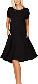 Annabelle Women's Comfy Short Sleeve Scoop Neck Swing Dresses with Pockets