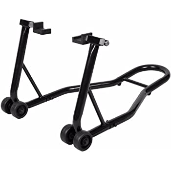Goplus Motorcycle Stand Dirtbike Sport Bike Rear Wheel Lift Fork Swingarm Stands Paddock Stands Fits Yamaha Honda Kawasaki Suzuki Ducati BMW (Black, Rear Stand)