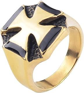 Gungneer Knight Templar Cross Stainless Steel Ring Silver Gold Accessories Men Women