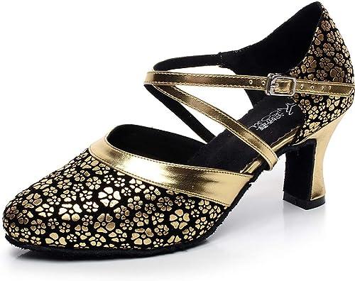 XIAOY Hauts de Danse Latine Chaussures pour Femmes Daim Milieu Haute Talon Cross Sangle Paillettes 7CM