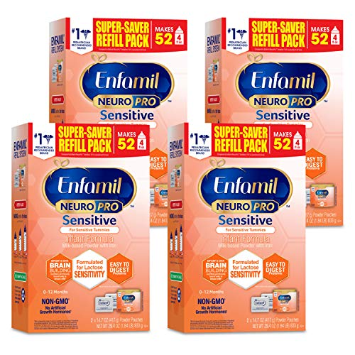 Enfamil NeuroPro Sensitive Baby Formula, Brain and Immune Support with DHA, Iron & Prebiotics, Lactose Sensitvity Infant Formula Inspired by Breast Milk, Non-GMO, Powder Refill Box 29.4 Oz (Pack of 4)