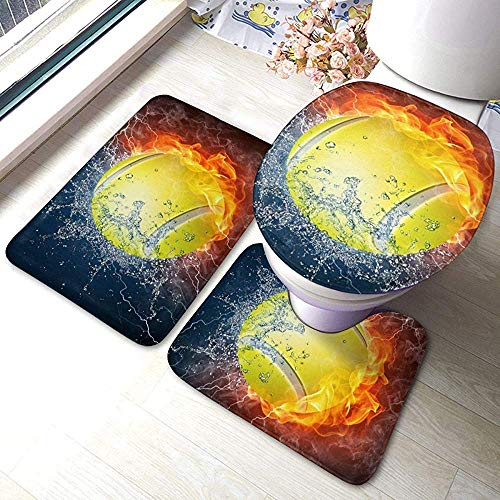 N \ A Tennis Ball On Fire and Water 3 Piece Bathroom Pads Includes Anti-Skid Pads Bath Mat + Contour + Toilet Lid Cover